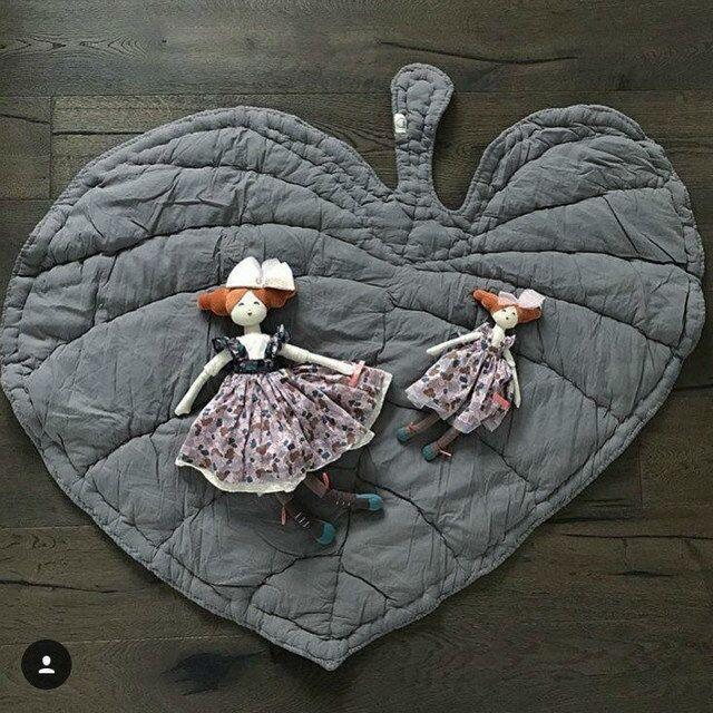Tapis bébé forme de feuille décoration d'ameublement pur coton enfants ramper tapis de jeu