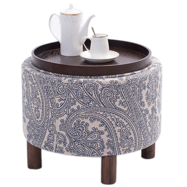 Stool Flax Cloth Wood Footstool Chair With Storage Box Inside Sofa Furniture Ottomans Home Decor