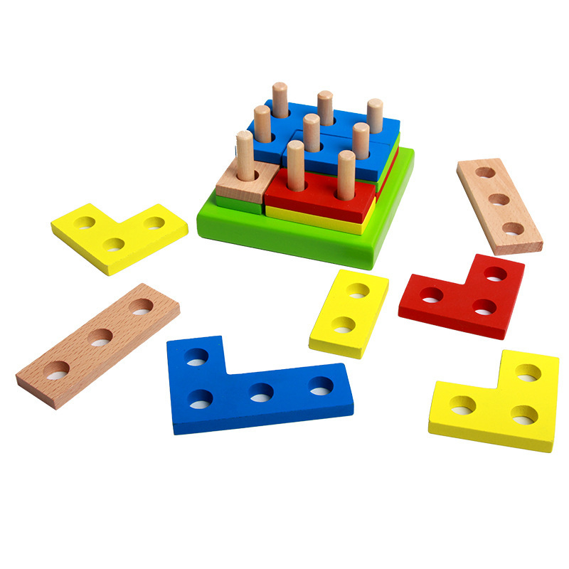 New Cheap Wooden Toy Geometry Building Blocks Baby Kid Children Learning Intelligence Educational Stacking Jigsaw Toy Funny Gift wooden blocks toys digital geometry clock children s educational toy for baby boy and girl gift