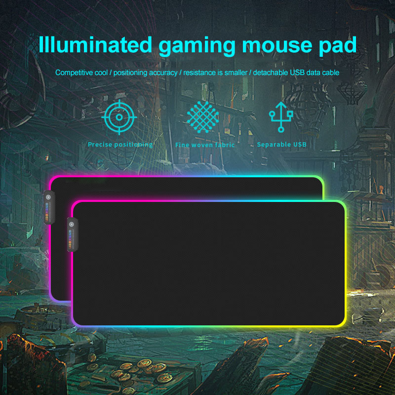 New Gaming <font><b>Mouse</b></font> <font><b>Pad</b></font> <font><b>RGB</b></font> Glowing <font><b>LED</b></font> Anti-slip Colorful for PC Computer Laptop DOM668 image