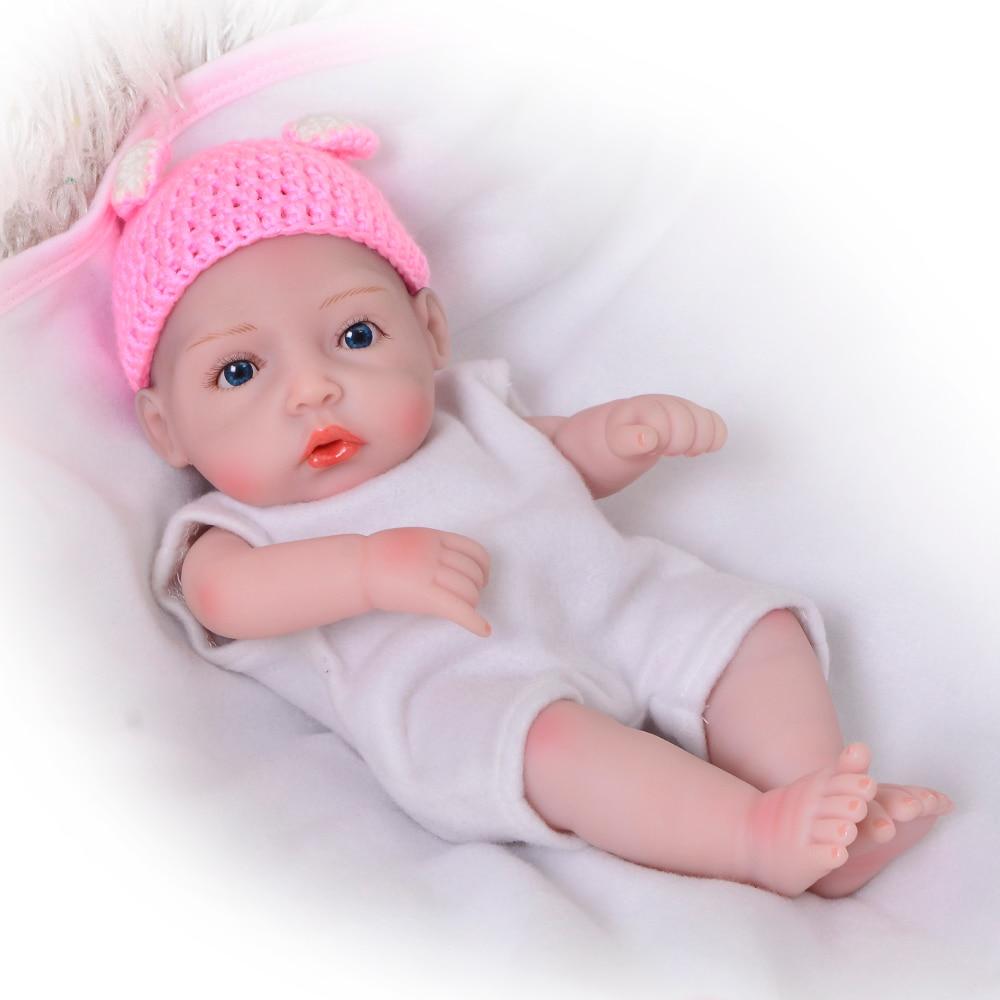 "Reborn Baby Girl Dolls 11/"" MINI Full Body Silicone Vinyl Handmade US FREE SHIP"