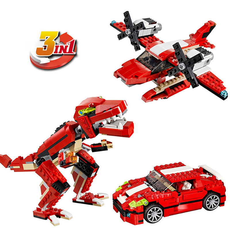 Decool 3116 Roaring Power Architect 3 In 1 Dragon building bricks blocks New year Gift Toys for children Model Car Lepin 31024 decool 3116 city architect 3in1 creator roaring building block 374pcs diy educational toys for children compatible legoe