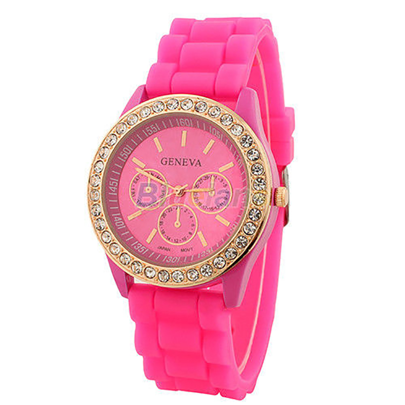 Ladies Women Watches Girl Geneva Silicone Quartz Golden Crystal Stone Jelly Wrist Watch