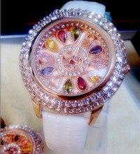 Lujo de Las Mujeres Elegantes Relojes de Mesa de Diamantes de Cuero Genuino de Las Mujeres de Moda Vestido Reloj de Señora rhinestone relojes 2016