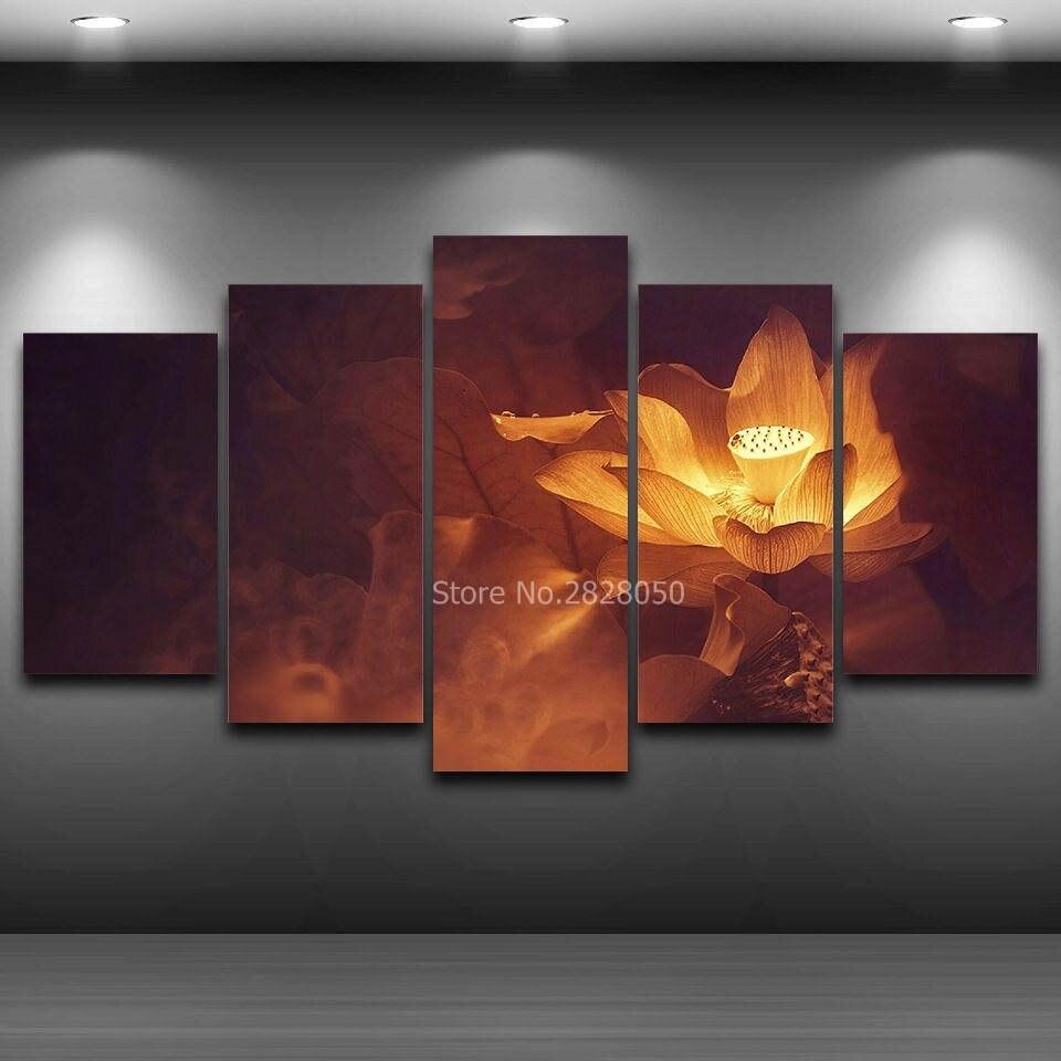 Moderne Printed Vintage Dekoration Goldenen Lotus Blume Malerei Auf ...