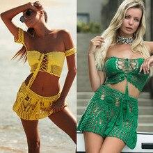 Hand Crochet Florens Skirt Women Swimwear Sexy Beach Bikini cover up Boho Style elastic waistband tassels