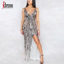 Женское длинное платье с блестками и открытой спиной, Вечернее Платье макси с разрезом, блестящие вечерние платья для ночного клуба