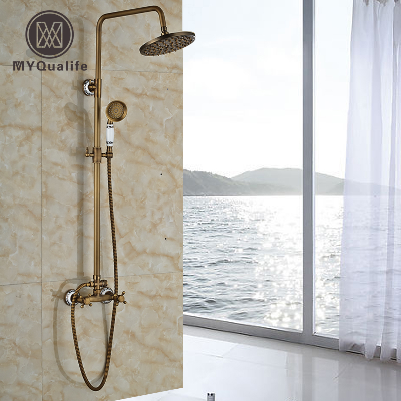 Bathroom 2 Function Shower Faucet Shower Set Antique Brass Bathroom Shower Unit 8 Inch Rain Shower Head Tub Mixer Taps antique brass 8 rain shower faucet set double corss handles tub mixer hand unit