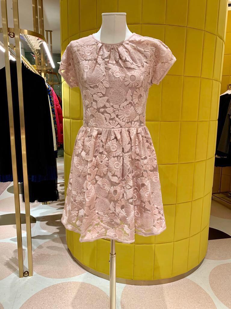 2019 frühling und Sommer O hals kurzarm schwere mesh spitze embrodery mädchen süße rosa spitze kleid - 3
