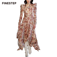 Luxury Brand Dress Women Flower Print Maxi Dress Puff Sleeve Elegant Dress for Special Occasions Dress Bow Tie Collar