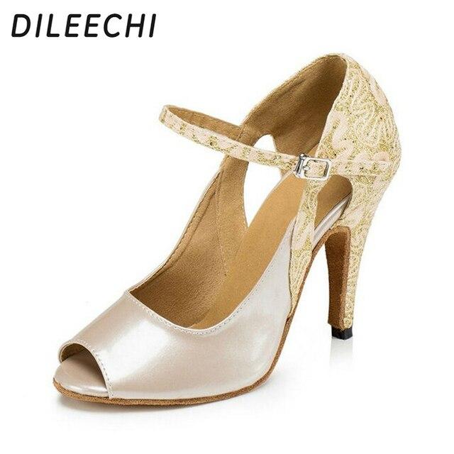 DILEECHI Wholesale women sequined cloth Mixed with PU Glitter Latin Dance  Shoes Ballroom Shoes Salsa Tango Bachata Dance Shoes 301e8cd388a8