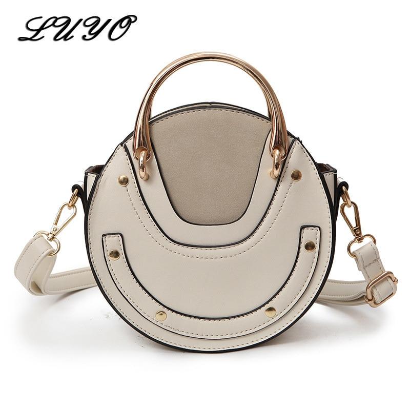 2018 New Summer Circular Scrub PU Leather Retro Metal Ring Luxury Handbag Small Round Women Bags Designer Shoulder Mini Cloe Bag