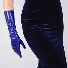 WomenS Patent Leather Gloves Medium Long PU Simulation Bright Mirror Blue Deep 40cm TBBL05