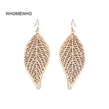 WHOMEWHO Gold Glitter Bling Metal Leaf Leaves Two Layers Minimalist Earrings Fashion Party Jewelry Korean Chic Accessory