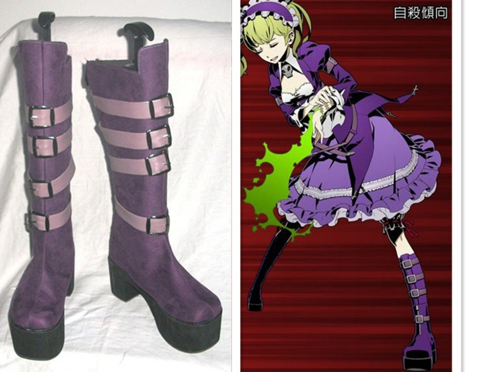 Unlight Sheri Purple Cosplay Shoes Long Boots S008