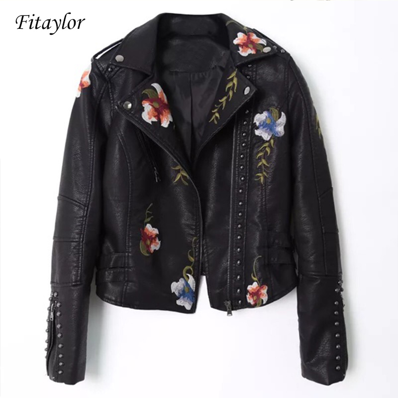 Fitaylor Women Embroidery Pu Leather Jacket Faux Soft Leather Black Punk Rivet Short Coat Zipper Pu Motorcycle Lady Outerwear σετ γυναικειο παντελονι μπλουζα