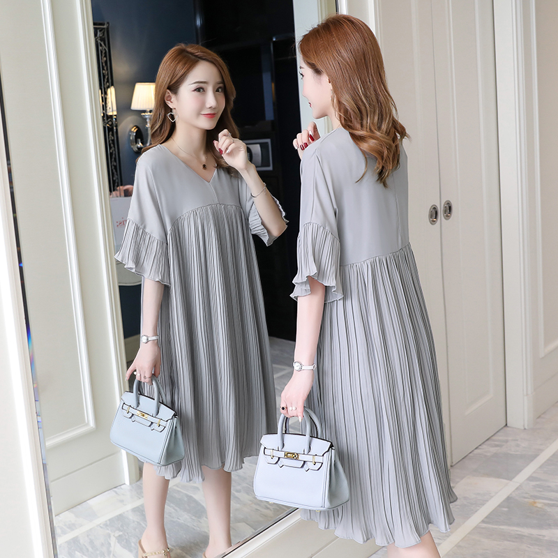 5305# 3XL V Neck Pleated Chiffon Maternity Dress 2019 Summer Korean Fashion Loose Clothes For Pregnant Women Pregnancy Clothing