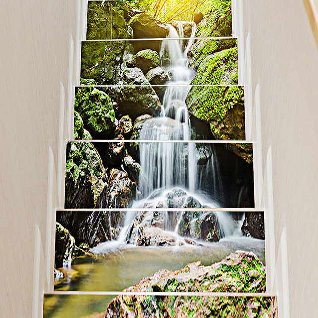Hot sale wall decals stair wall sticker 3d waterfall stone stair stickers waterproof wallpaper home decorations 6pcs wholesale