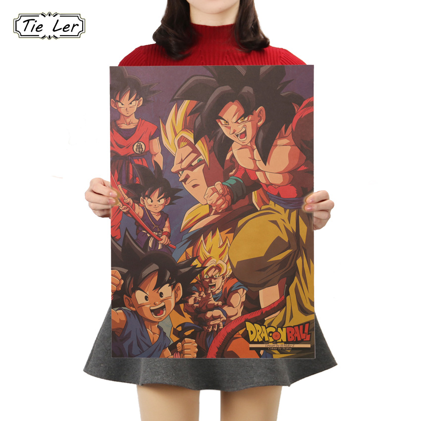 TIE LER Classic Anime Dragon Ball Style Poster Dragon Ball Wall Stickers Anime Wallpaper Goku Gohan Mural Decoration 50X35cm