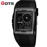 OTS Luxury Brand LED Digital And Analog Men Watch Rubber Band Outdoor Sports Watches Square Dial