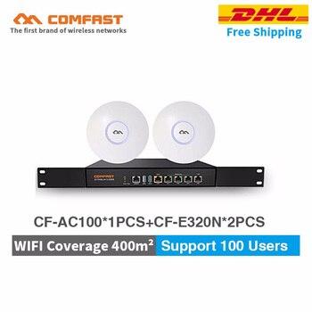 Cheaper set Wifi coverage solution for 400m.sq CF-AC100 Gigabit AC Authentication Gateway Routing+2pcs 300Mbps POE ceiling AP