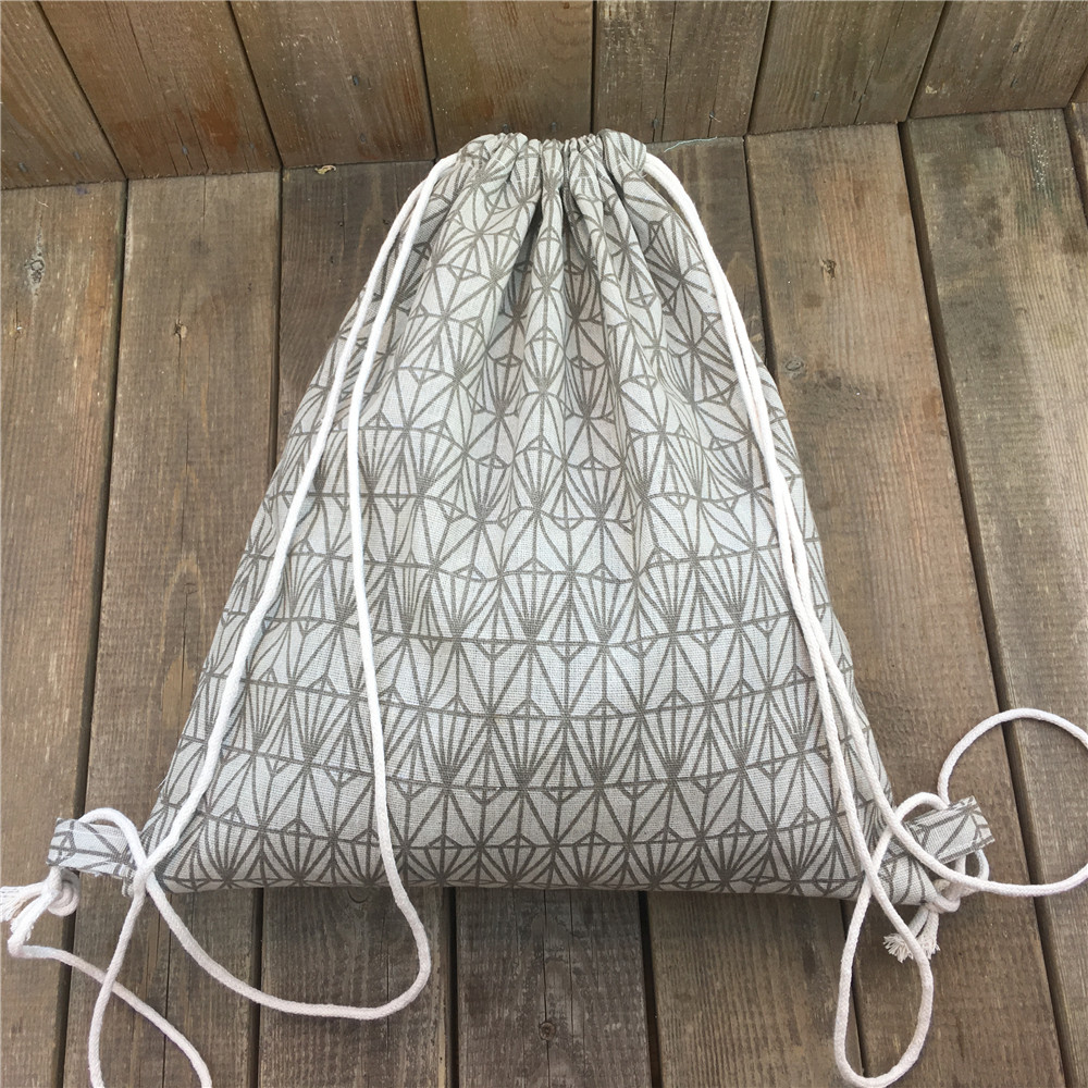 YILE Cotton Linen Drawstring Travel Backpack Book Shoes Sorted Bag Print Geometry Diamond Green Brown 8910b tree print drawstring hem hooded blouse