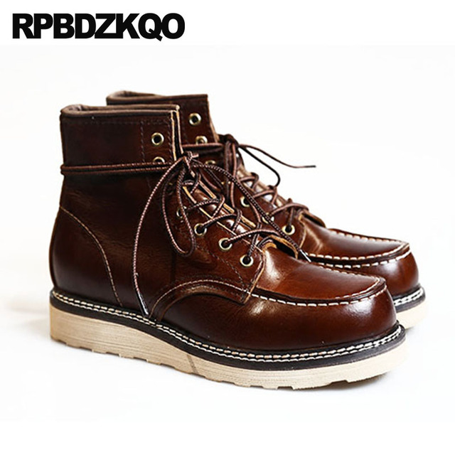 Cuir véritable travail pleine fleur rétro bottes de Combat militaire travail grande taille armée hommes cheville lacets sécurité luxe chaussures marron