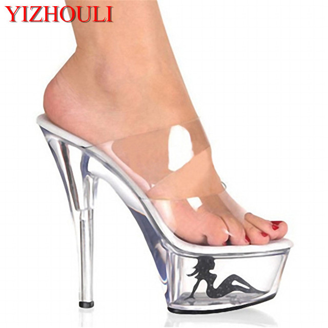 914df0a9b1e286 Top Selling Sexy Vogue Clear Women Sandal 6 Inch High Heel Slipper 15cm  Platform Appliques Pretty Girl Party Crystal Shoes