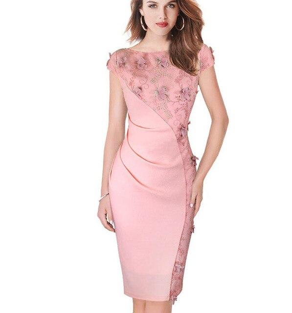 5f3fb2215f Womens dress verano elegante bordado cubierta del lápiz bodycon dress casual  vestidos de noche del partido