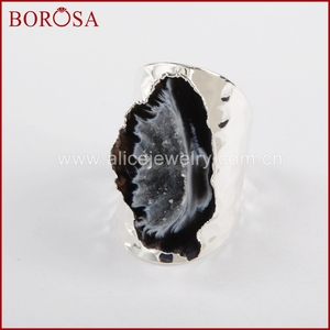 Image 3 - BOROSA Elegant Druzy Silver Color Freeform Natural Crystal Druzy Open Band Rings, Fashion Natural Gems Women Party Rings S1388