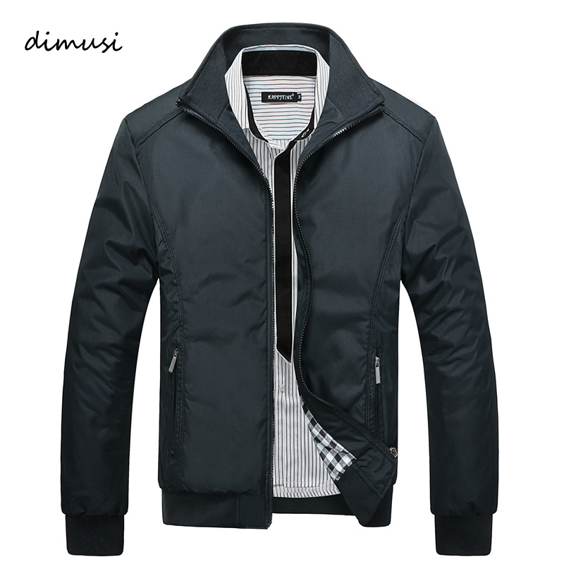DIMUSI 2017 Spring Autumn Men S Jacket Male Overcoat Casual Solid Jacket Slim Fit Stand Collar