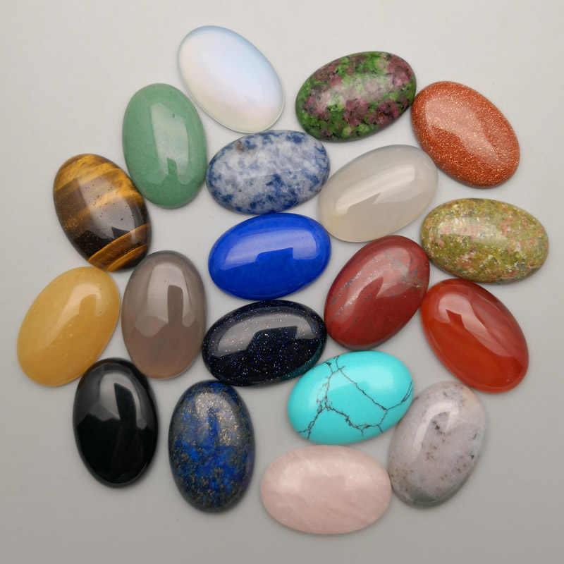 Moda mista 10-50 pçs pedra natural cabochão grânulo não hole10x14 13x18 25x18 15x30 20x30 30x40mm anel accsories frete grátis