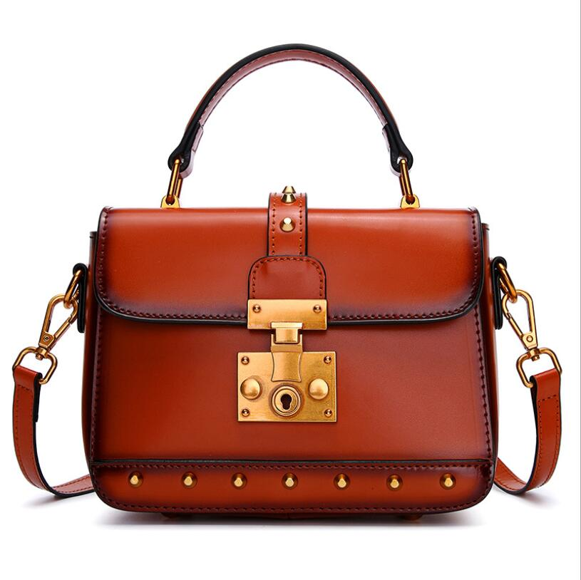 Women 39 s small handbag retro rivet shoulder bag fashion cow leather crossbody Messenger bags female in Top Handle Bags from Luggage amp Bags