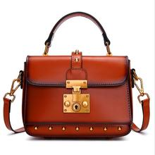Womens small handbag retro rivet shoulder bag fashion cow leather crossbody Messenger bags female