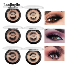 LANJINGLIN 1 pair natural long false eyelashes cruelty free 3d mink lasheshand made makeup fake eyelash extension volume lash