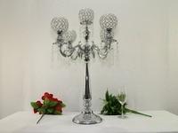 76 cm altura pendats 5-braços candelabros de metal com cristal, prata brilhante acabamento suporte de vela do casamento de abastecimento de casamento