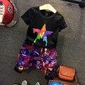 Boys Clothing Sets Fashion Boys sets 2016 Summer Black short sleeve star T-shirt+short pants handsome 2pcs suit