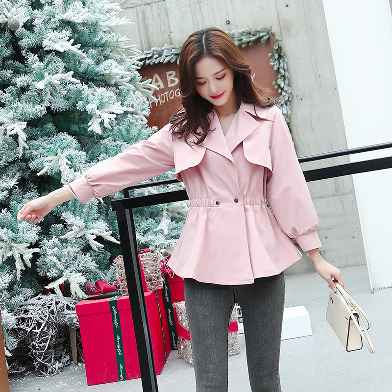 Bri 2019 New Fashion Double Breasted Short Trench Coat Women Khaki Slim Outwear Mujer Windbreaker Female Overcoat