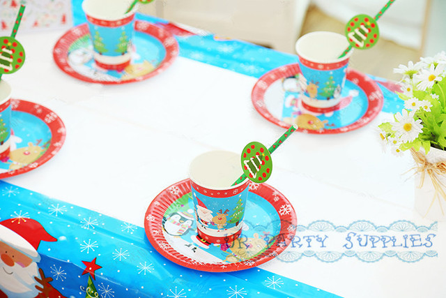 100 Sets Christmas Themed Party Supplies Small 7inch Plates 9inch Plates Cups Straws Tablecloth Holiday Lot  sc 1 st  AliExpress.com & Aliexpress.com : Buy 100 Sets Christmas Themed Party Supplies Small ...