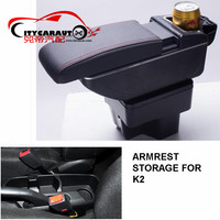 CITYCARAUTOcentral armrest BIGGER SPACE+LUXURY+USB armrest box central Storage content box with cup holder LED FOR KIA K2 2015+