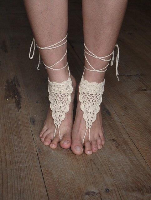 Spitze Barfuß Sandalen Häkeln Barfuß Sandalen Fußkettchen Barfuß
