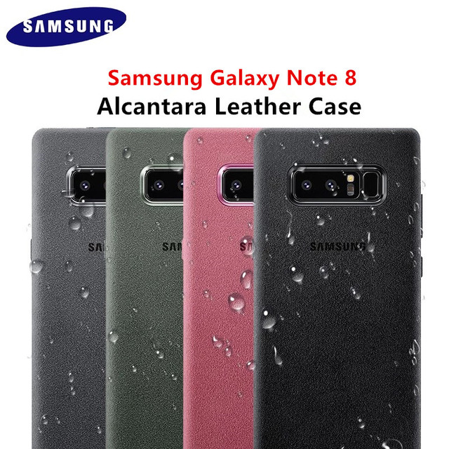 on sale 1cac9 66e67 US $12.85 32% OFF|Genuine Original Samsung Galaxy Note 8 Alcantara Case EF  XN950 SM N950 Soft Shockproof Luxury Leather Cover Four Color Business-in  ...