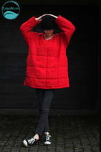 LinenAll.com women's parkas,100% linen fresh red straight loose O-neck pullover thermal wadded cotton-padded jacket female Yijiu