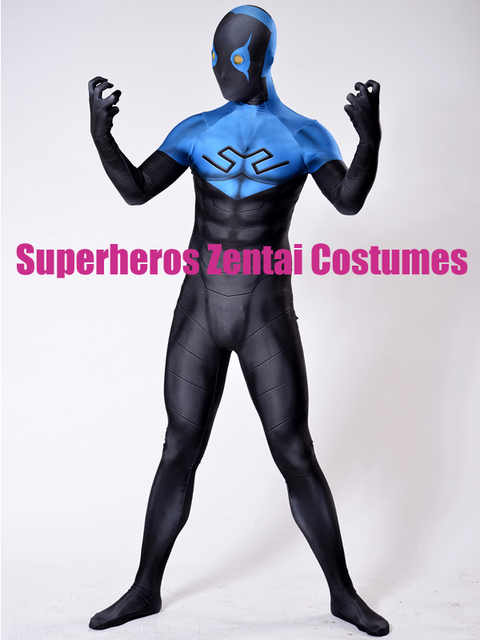3D Print Blue Beetle Cosplay Costume Ted Kord Version Spandex Superhero Costume fullbody Cool zentai suit & 3D Print Blue Beetle Cosplay Costume Ted Kord Version Spandex ...