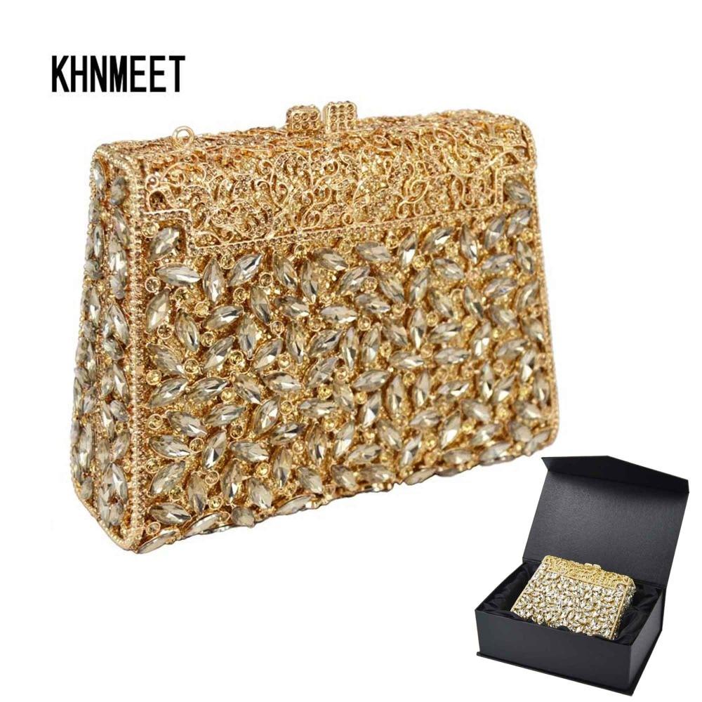 Gouden Doos Zak Diamanten Vrouwen Clutch Bag Crystal Party Handtas Dames Banket Purse Fashion Pochette Prom Avondtasje SC452