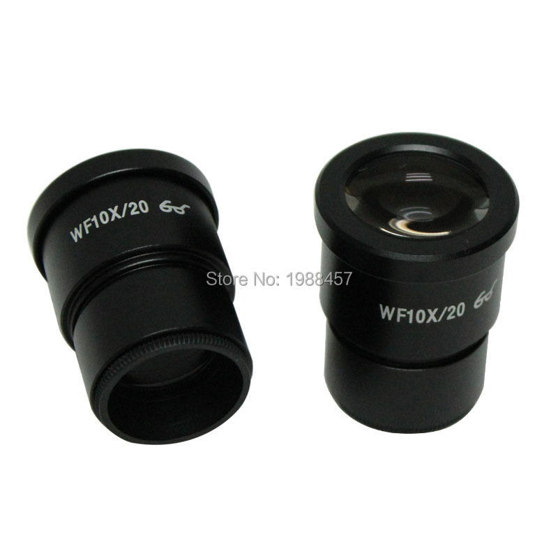 2 PCS WF10X/20mm 7X-45X Stereo Microscope High Eye Point Eyepiece Wide Field Eyepiece with Cross Reticle 30mm Mounting Size accessories stereomicroscope special wide angle 10x eyepiece with 20 times the measured differential reticle