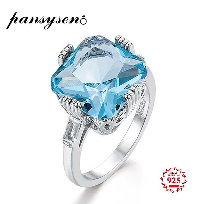 PANSYSEN เลดี้ประณีตบริสุทธิ์ 925 เงิน Aquamarine แหวน 12x12 มม.แหวนอัญมณียี่ห้อวาเลนไทน์ของขวัญ