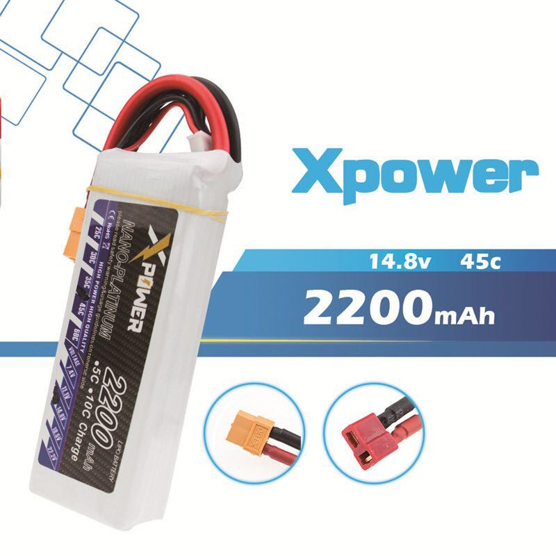 Xpower <font><b>14.8V</b></font> <font><b>2200Mah</b></font> 30C Max 50C Lipo Battery 4s for RC cars Helicopters Cars Boats quadcopters image