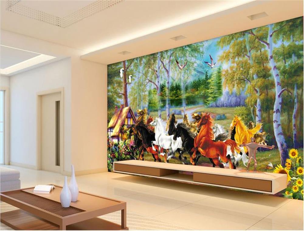3D wallpaper/custom photo wall paper/Eight horses forest cabin/mural/TV/sofa/Bedroom/KTV/Hotel/living room/Children room
