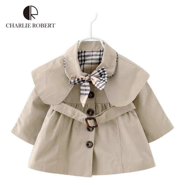 New Baby Girls Spring Autumn Outerwear Kids Trench Causal Plaid Jacket Fashion Coats  Hooded Windbreaker Children Clothing